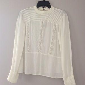 Zara basics Cream Blouse with pleats and lace